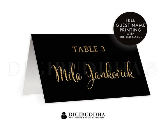 Black Gold TENTED PLACE CARDS Wedding Escort Card Folded Or Flat
