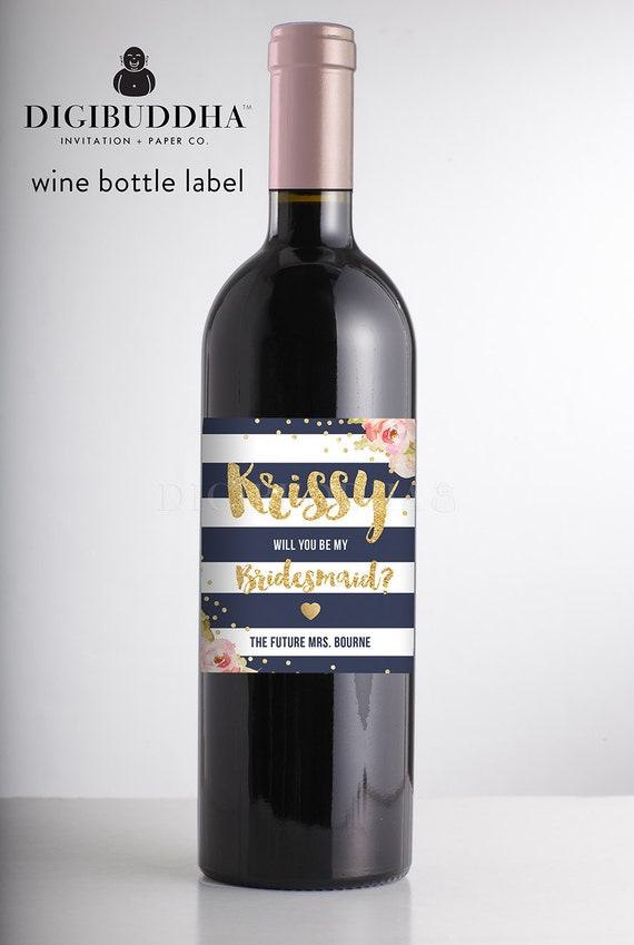 will you be my bridesmaid wine label proposal navy stripe etsy
