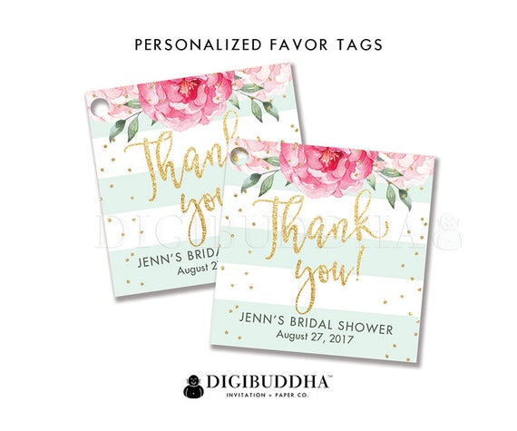 photo about Bridal Shower Gift Tags Free Printable known as Floral Bridal Shower Choose Tag Tailor made Present Tag Bridal Shower
