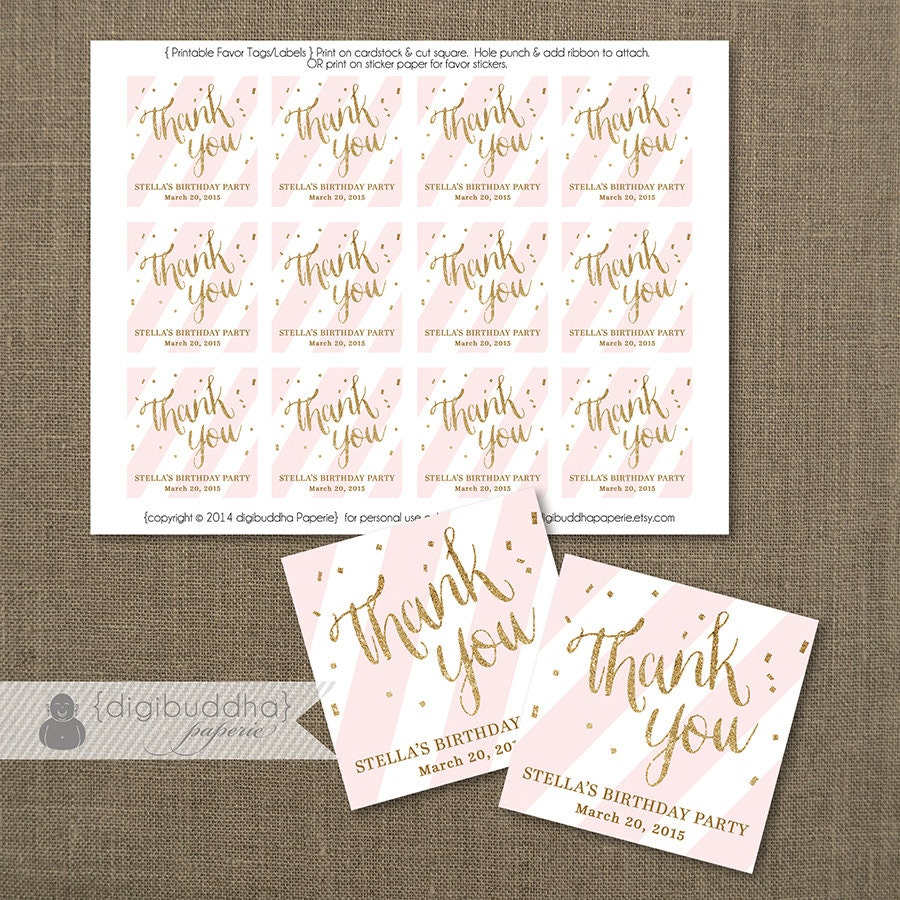 Pink + Gold FAVOR TAGS Bridal Shower Blush Pink Stripe Wedding Hen ...