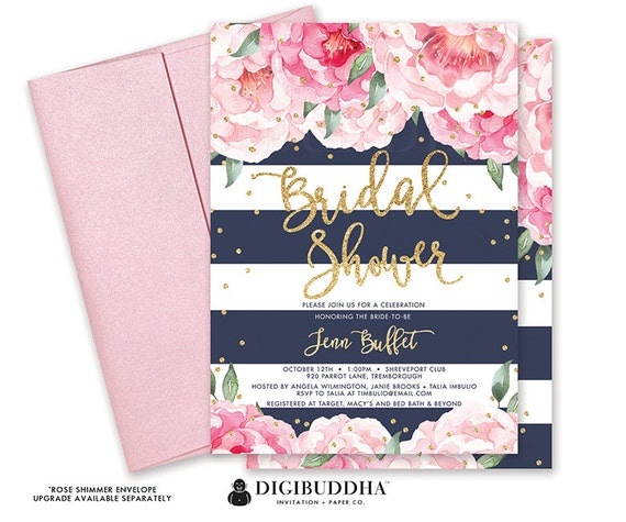 Floral Bridal Shower Invitation Florals and Stripes Custom Bridal Shower Invite Floral Bridal Invite Printed Bridal Shower Invite DIY - Jenn