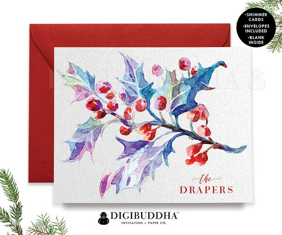 PERSONALIZED HOLIDAY CARD Set Boxed Christmas Cards Mistletoe Greeting Card Box Boxed Holiday Shimmer Christmas Cards Red Envelope - Draper