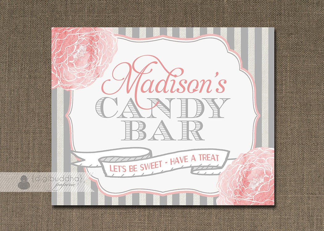 Blush Pink Gray Candy Bar Sign Baptism Girl Baby Shower Pink Etsy