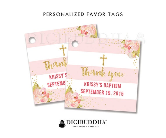 Favor Tags Baptism Favor Tag Thank You Tag Baby Shower Favor Etsy