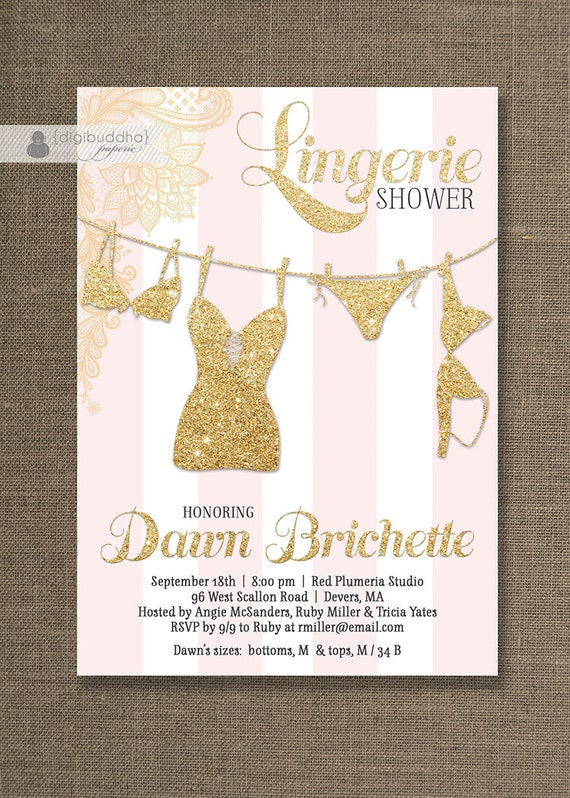 Pink & Gold Lingerie Shower Invitation Gold Glitter Lace Pink Stripes Modern Bridal Personal FREE PRIORITY SHIPPING or DiY Printable - Dawn