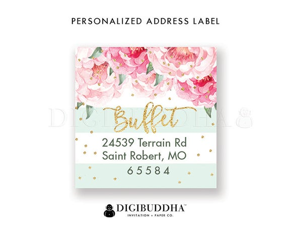 30 Custom Pink Flower Personalized Address Labels
