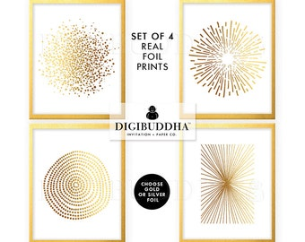 GOLD FOIL PRINTS Set of 4 Abstract Posters Real Gold Foil Decor Gold Foil Posters Gold Decor Gold Foil Art Prints Gold Foil Wall Art Silver