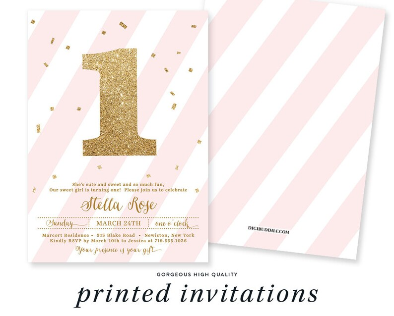 First Birthday Invitations Pink White Girl Printable 1st