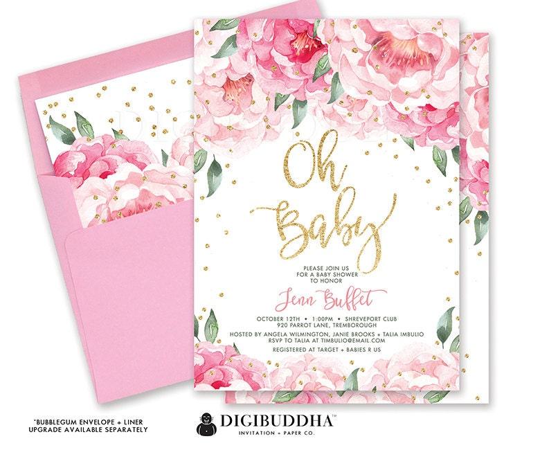 Flores bebé ducha invitación género neutro florales y rayas