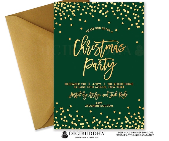 CHRISTMAS PARTY INVITATION Green Gold Festive Holiday Party Invitation Christmas Invite Holiday Party Invite Printed Invitations - Aislyn