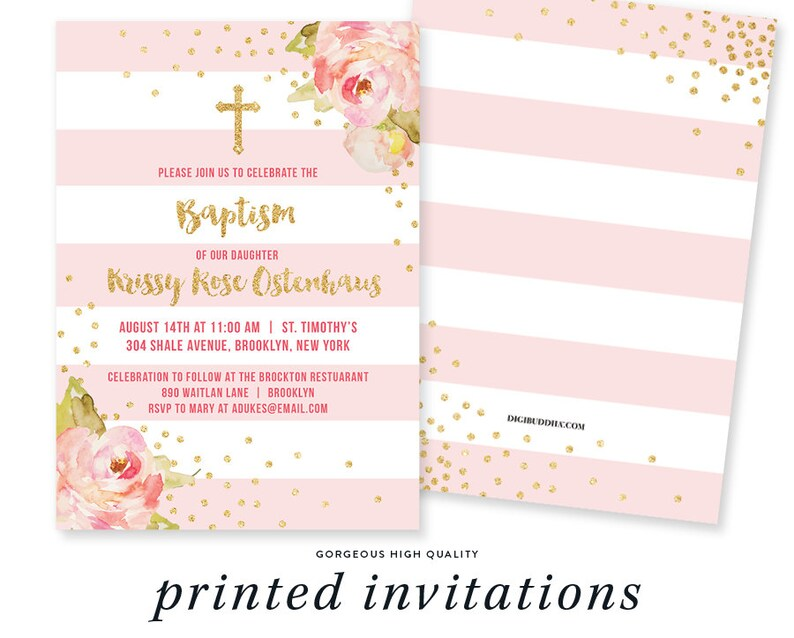 Pink Gold Baptism Invitation Christening Party Invite Pink Etsy
