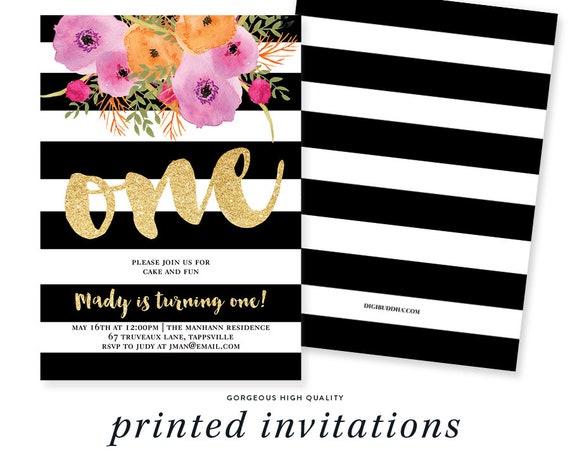 1st Birthday Invitations Black White First Party