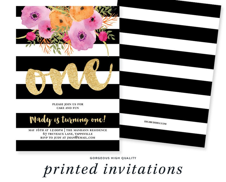 1st Birthday Invitations Black White First Party