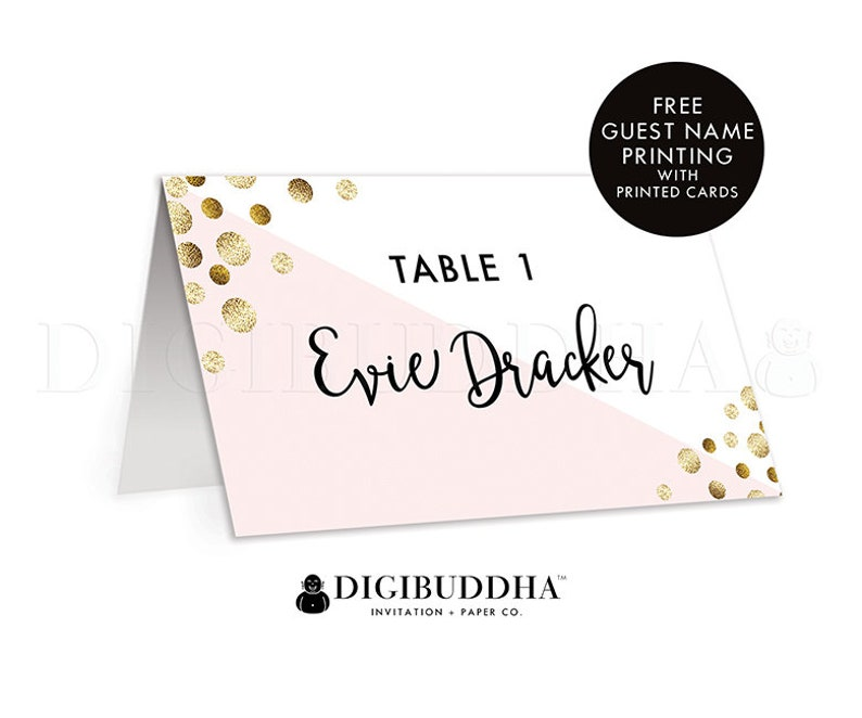 Blush Pink with Gold Dots Tented Place Cards Wedding Escort Cards Folded or Flat Placecards Guest Name Printing for Rehearsal Dinner Evie