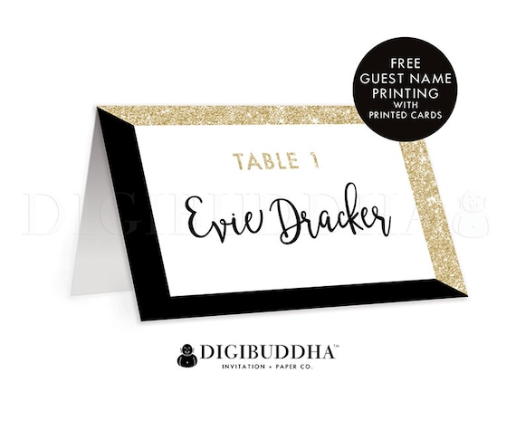 Black Gold TENTED PLACE CARDS Wedding Escort Cards Folded Or Flat