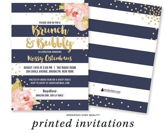 0c345434998d Floral BRUNCH and BUBBLY Bridal Shower Invitation Brunch Champagne Bubbly  Gold Pink Navy Champagne Shower Floral Bridal Invite - Krissy
