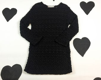 90s Black Flame Knit Long Sleeve Mini Dress / Size Small / Chaus / Minimal / y2k / Cyber / Grunge / Sheer / Open Knit / Mesh / Goth /