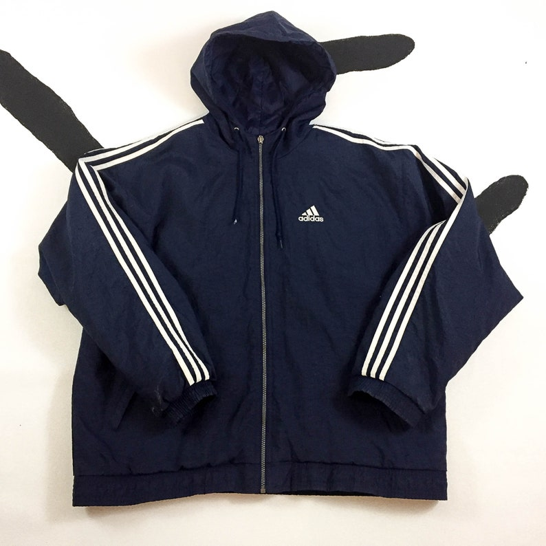 4607b6886f23 90s Adidas Navy Blue Stripe Hooded Windbreaker Jacket   Blue