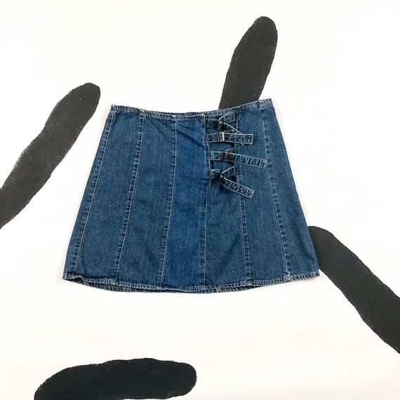 90s Willi Smith Patchwork Denim Skirt with Buckle