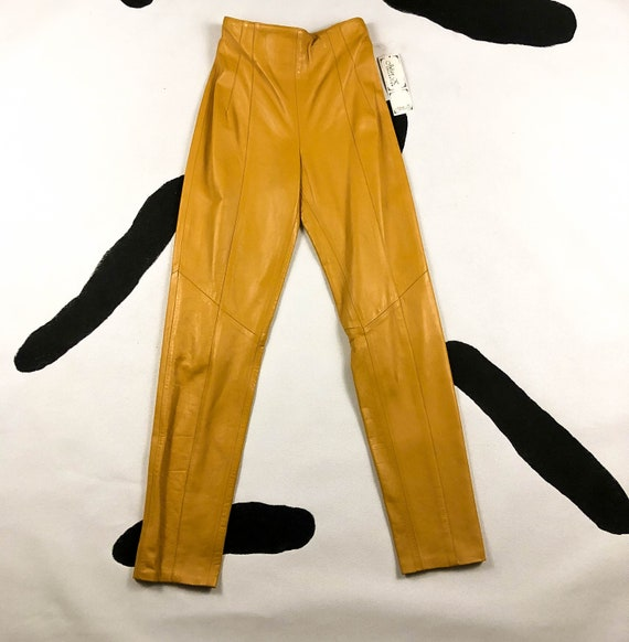 80s / 90s / Mustard Yellow Leather High Waisted Pa
