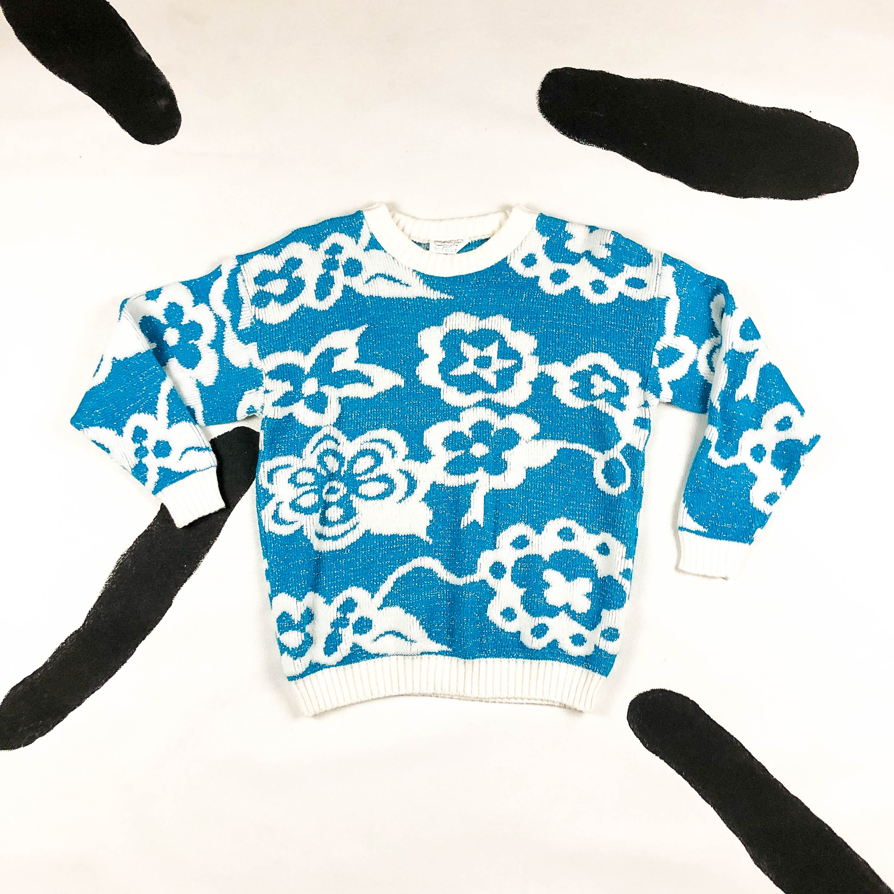 80s Sweatshirts, Sweaters, Vests | Women 1980S Lurex Floral Knit SweaterFlowers Blue  White Babysitters Club Medium Glitter Large Kawaii Saved By The Bell M $48.00 AT vintagedancer.com