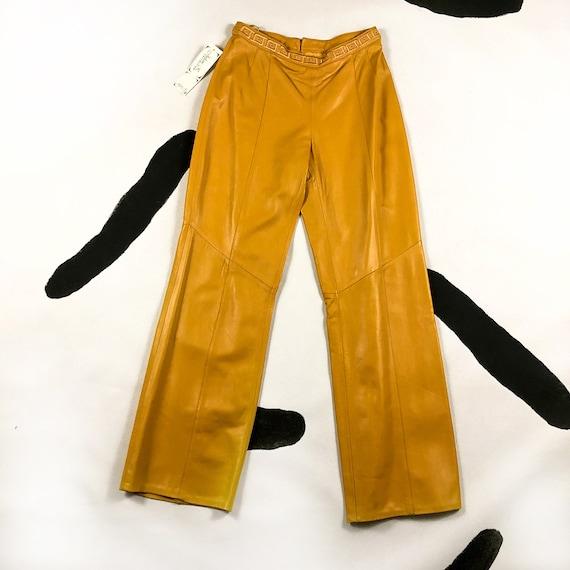 90s Mustard Yellow Leather Pants / Wide Leg / Gree