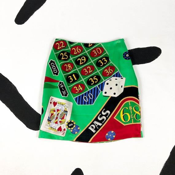 90s Nicole Miller Silk Casino Print Skirt / Gambli