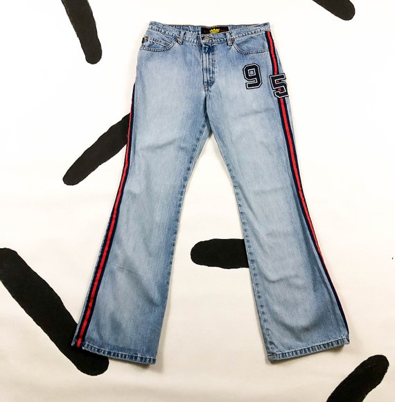 90s Todd Oldham Jeans Light Wash Denim Racing Stri