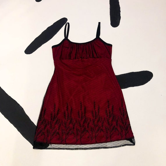 90s Black And Red Mesh Overlay Slip Dress / Tank Dress / Goth / Sheer / Net / Mall Goth / Cyber / Rave / Gathered Bust / Medium / 00s / Y2k by Etsy