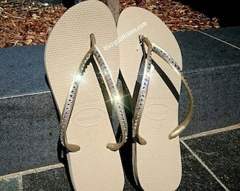 5592536cb Gold Havaianas Covered In SWAROVSKI Crystal Bling Flip Flops - 1 Row