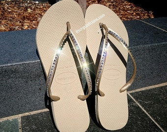 88db8687944bf0 Havaianas Covered In SWAROVSKI Crystal Bling Flip Flops - 1 Row