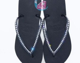 d6c6fbb94816 Black Havaianas Covered In SWAROVSKI Crystal Bling Flip Flops - 1 Row