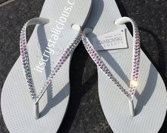 37c5110c251d6 White Havaianas Covered In SWAROVSKI Crystal AB Bling Flip Flops - 2 Rows