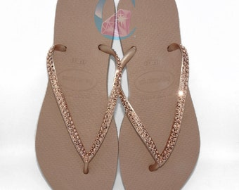 c539bf8e2bde Rose Gold Thin Havaianas Covered In SWAROVSKI Crystal Bling Flip Flops - 2  Rows