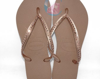 b32f3b5f2 Rose Gold Thin Havaianas Covered In SWAROVSKI Crystal Bling Flip Flops - 1  Row