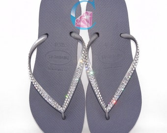 27471ddb8282 Silver Slim Thin Havaianas Covered In SWAROVSKI Crystal Bling Flip Flops.