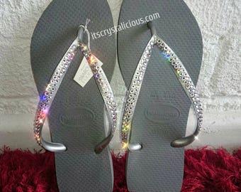 c2ebc05623a83 Silver Slim Thin Havaianas Covered In SWAROVSKI Crystal Bling Flip Flops.