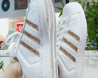 detailed look 49fc5 7638e Genuine Bling Adidas Superstar embellished with Genuine Rose Gold Swarovski  Crystals