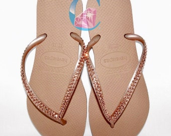 6665210bf3ba1 Rose Gold Thin Havaianas Covered In SWAROVSKI Crystal Bling Flip Flops - 2  Rows