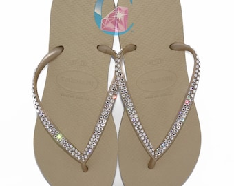 f4a2c47e37494 Gold Havaianas Covered In SWAROVSKI Crystal Bling Flip Flops.