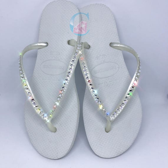 In Crystal Havaianas 1 Row Flip SWAROVSKI Covered White Bling Flops Sw4q7xT