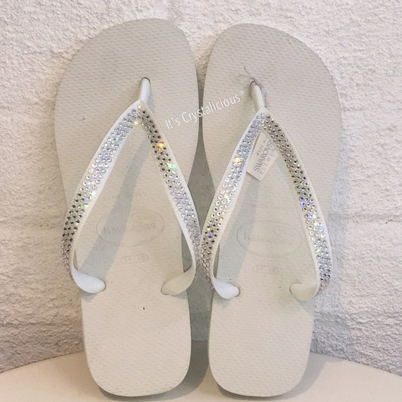 Covered Flip Havaianas Thick Strap Bling SWAROVSKI with Crystal Flops 0Ex6wxz