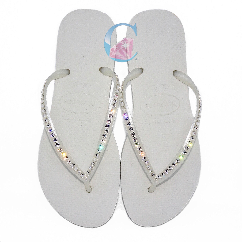 White Havaianas Flops Covered In SWAROVSKI Crystal Bling Flip Flops Havaianas - 1 Row 18daaf
