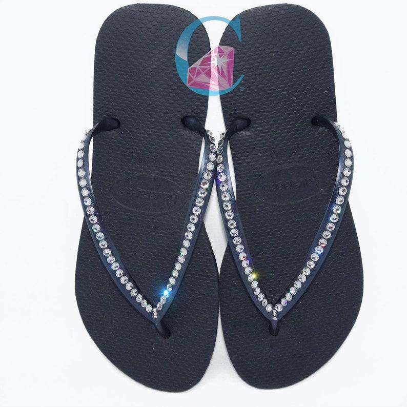 078d79440b72 Black Havaianas Covered In SWAROVSKI Crystal Bling Flip Flops