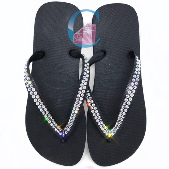 c21e62aa3a1 Thick Strap Havaianas Covered with SWAROVSKI Crystal AB Bling
