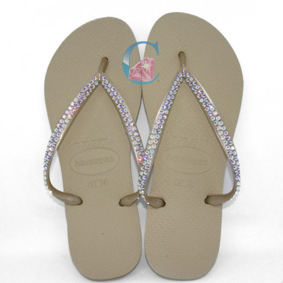 5e582a6c1 Gold Havaianas Covered In SWAROVSKI Crystal AB Bling Flip Flops - 2 Rows