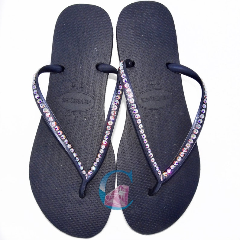 2d494d1aa643 Black Thin Strap Havaianas Covered In SWAROVSKI® Crystal AB