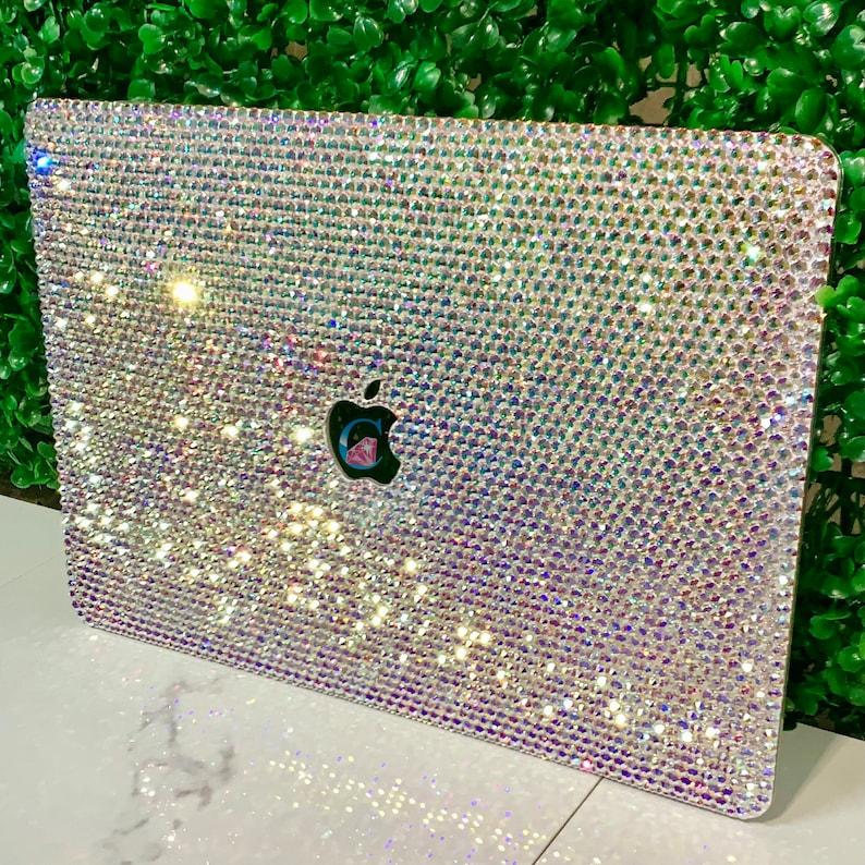 Bling custom Crystal embellished top MacBook cover image 1