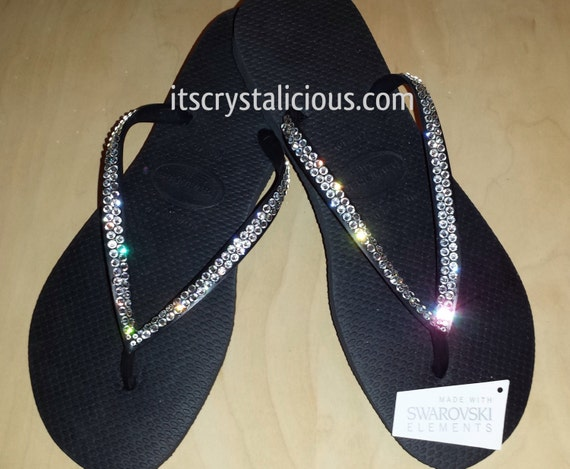 Black Crystal Flip In Clear Flops Crystal Havaianas Bling Covered SWAROVSKI wZnwx4ACq