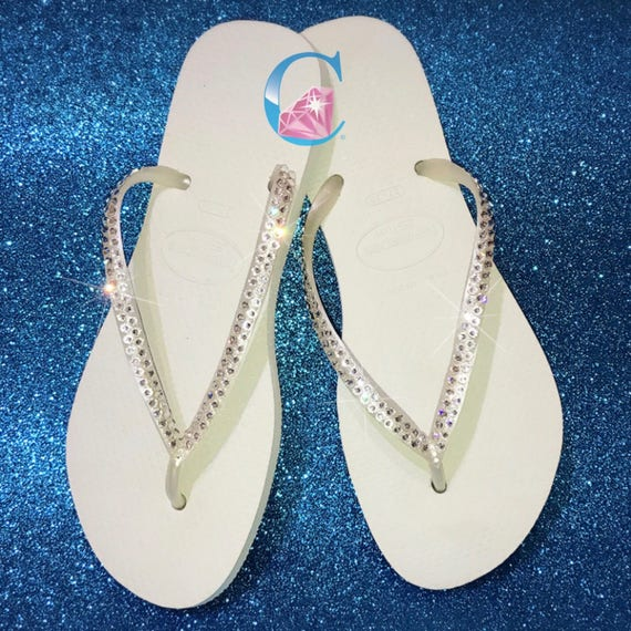 d32b16ca5f02a7 White Havaianas Covered In SWAROVSKI Crystal Bling Flip Flops.
